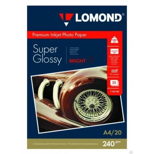 Бумага Lomond суперглянцевая для струйной печати (240гр/А4/20л/СУПЕРГЛ)  одност. (1105100)