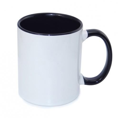 Кружка для сублимации белая, внутри и ручка черная