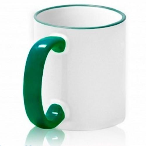 Кружка с цветным ободком и ручкой (зеленая)