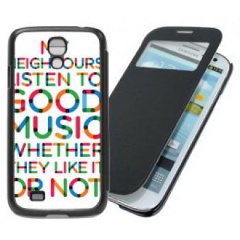 Чехол для Samsung Galaxy S4, складной, черный, кожзам