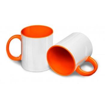 Кружка для сублимации белая, внутри и ручка(оранжевая)
