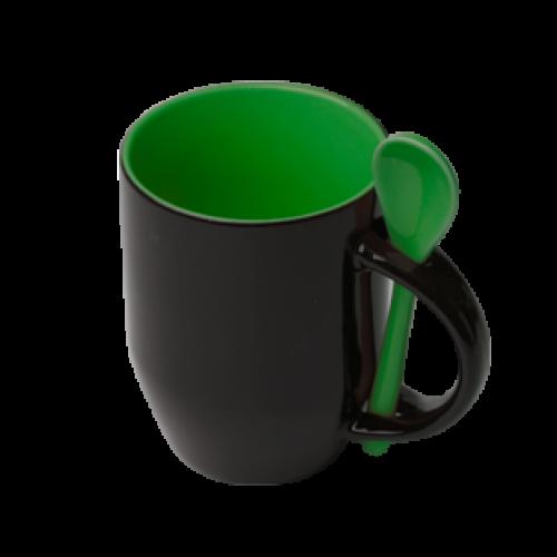 Кружка Color  для термопереноса, зеленая -хамелеон с ложкой