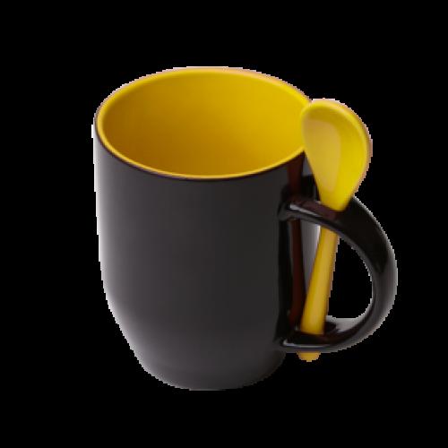 Кружка для термопереноса, желтая -хамелеон с ложкой
