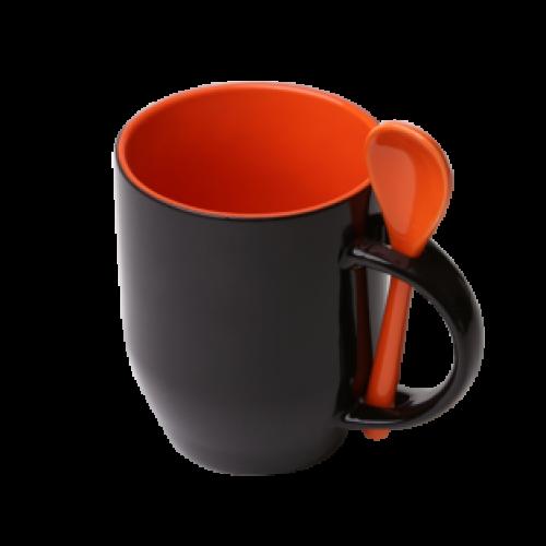 Кружка Color  для термопереноса, оранжевая -хамелеон с ложкой