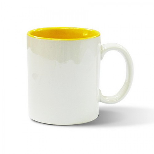 Кружка для сублимации белая, желтая внутри