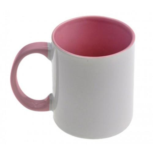 Кружка для сублимации белая, внутри и ручка(розовая)