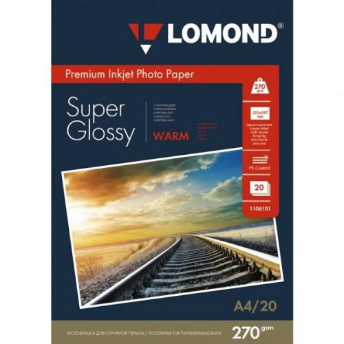 Суперглянцевая тепло-белая (Super Glossy Warm) микропористая фотобумага для струйной печати, A4, 270 г/м2, 20 листов.