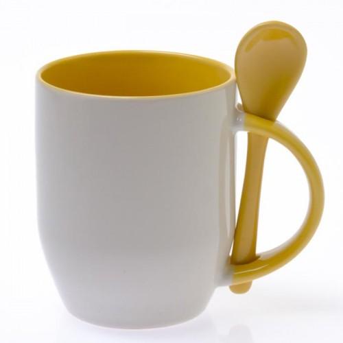 Кружка для сублимации с ложкой белая, внутри и ручка(желтая)