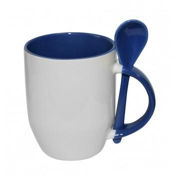 Кружка для сублимации с ложкой белая, внутри и ручка(синяя)