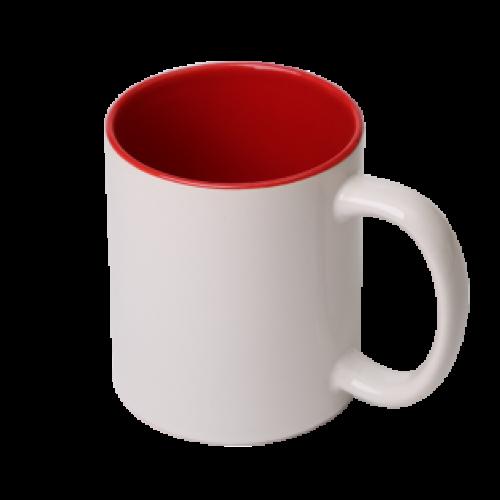 Кружка для сублимации белая, красная внутри