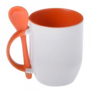 Кружка для сублимации с ложкой белая, внутри и ручка (оранжевая)